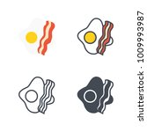 bacon and eggs breakfast flat... | Shutterstock .eps vector #1009993987