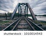 iron bridge with a railroad... | Shutterstock . vector #1010014543