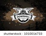 downhill motocros label design. ... | Shutterstock .eps vector #1010016733