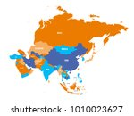 political map of asia continent.... | Shutterstock .eps vector #1010023627