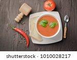 tomato puree soup cream puree... | Shutterstock . vector #1010028217