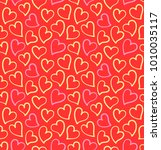hearts seamless pattern on the... | Shutterstock .eps vector #1010035117