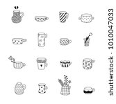 cute naive doodle black cups...   Shutterstock .eps vector #1010047033
