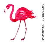 pink flamingo watercolor | Shutterstock . vector #1010078293