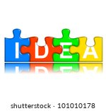four multi-color puzzle pieces with reflection combined representing idea concept - stock photo
