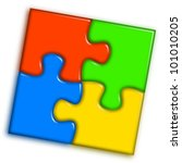 Combined multi-color puzzle representing cooperation and team work concept - stock photo