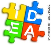 four multi-color puzzle pieces combined representing idea concept - stock photo