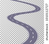curved road asphalt with white... | Shutterstock .eps vector #1010112727