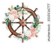watercolor hand drawn nautical  ... | Shutterstock . vector #1010116777