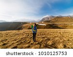woman tourist with a big... | Shutterstock . vector #1010125753