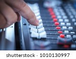 close up hands sound mixer... | Shutterstock . vector #1010130997