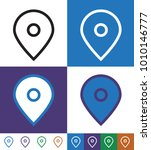 flat map location pointer icon... | Shutterstock .eps vector #1010146777