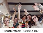 group of happy young people... | Shutterstock . vector #101015107