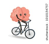brain riding bike cartoon... | Shutterstock . vector #1010154757