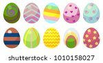 a set of eggs with patterns.... | Shutterstock . vector #1010158027