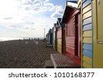 brighton beach bathing boxes in ...   Shutterstock . vector #1010168377
