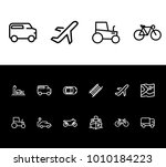 bicycle and transport icon line ...