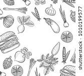 hand drawn farmers market menu... | Shutterstock .eps vector #1010199577