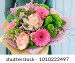 nice bouquet in the hands | Shutterstock . vector #1010222497
