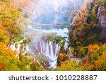 beautiful waterfall autumn in ... | Shutterstock . vector #1010228887