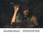 retro woman with mouthpiece... | Shutterstock . vector #1010235103