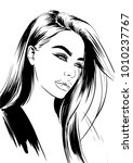 beautiful sexy woman face with... | Shutterstock .eps vector #1010237767