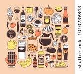 hand drawn illustration food ... | Shutterstock .eps vector #1010239843
