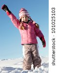 Young Girl Playing In Snow On...