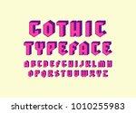 decorative sans serif bulk font ...   Shutterstock .eps vector #1010255983