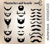 set of beards and mustaches on... | Shutterstock .eps vector #1010263123