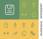 fitness icons set with happy...
