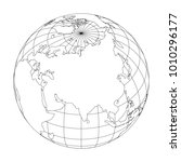 outline earth globe with map of ... | Shutterstock .eps vector #1010296177