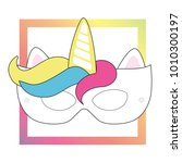 cut out unicorn mask  perfect... | Shutterstock .eps vector #1010300197