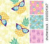summer trendy seamless patterns.... | Shutterstock .eps vector #1010324167