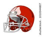 american football helmet red... | Shutterstock .eps vector #1010344807
