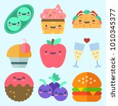 icons set about food with pea ... | Shutterstock .eps vector #1010345377