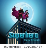 superhero couple. male and... | Shutterstock .eps vector #1010351497