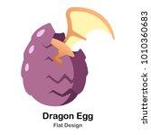 hatching egg of dragon infant... | Shutterstock .eps vector #1010360683