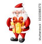 santa claus hold golden gift...   Shutterstock .eps vector #1010388373