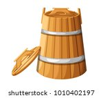 wooden barrel with handles and... | Shutterstock .eps vector #1010402197