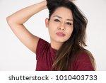 portrait of pretty young female ... | Shutterstock . vector #1010403733