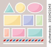 set of color postmarks with... | Shutterstock .eps vector #1010421043