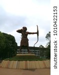 Small photo of Jakarta, Indonesia - January 26, 2018: Patung Panahan or archery statue at Gelora Bung Karno Stadium.