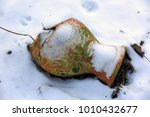 broken clay jug in the snow ... | Shutterstock . vector #1010432677