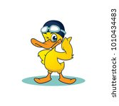 yellow duck swim mascot. happy... | Shutterstock .eps vector #1010434483