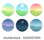 nature landscape at different... | Shutterstock .eps vector #1010437693