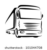 truck symbol, sketch in simple lines - stock vector