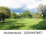 beautiful green park and sky ... | Shutterstock . vector #1010447857