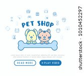 pet shop concept  cat and dog... | Shutterstock .eps vector #1010452297
