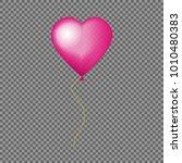 glossy pink heart balloon... | Shutterstock .eps vector #1010480383